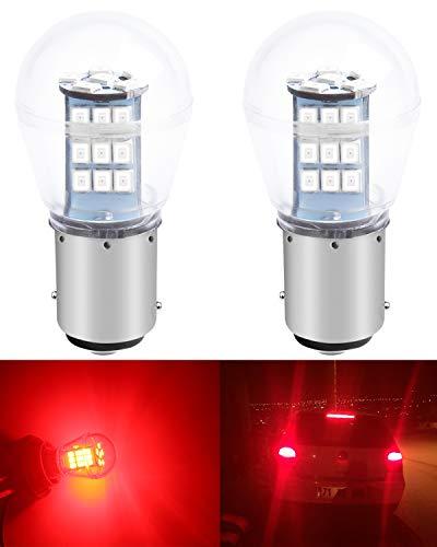 ALOPEE Paquete de 2 1157 BAY15D 1016 1034 7528 2057 2357 Luz LED Roja Extremadamente Brillante 9-30V-DC, 2835 33 SMD Bombillas de Repuesto para Lámparas de luz de Freno de Cola