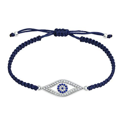 Bling Jewelry Türkische Blau Böse Auge Schwarz Geflochtene Schnur Strangarmband CZ Zirkonia Akzent Sterling Silber Verstellbar