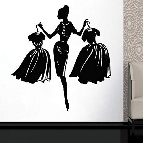 KBIASD Wall Decal Girls Fashion Clothing Boutique Window Shop Livingroom Vinyl Sticker Fashion Lady with Black Dress Wall Murals 57x61cm