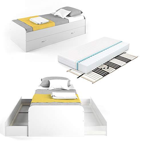 VitaliSpa Kojenbett Bett Enzo Jugendbett mit Gästeliege Funktionsbett 90x200 cm (Weiß mit Matratze & Lattenrost)