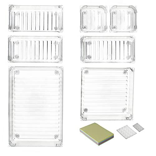 DARUITE Uppsättning av 7 halkfria skrivbordslådor organiseringsavdelare brickor med 4 storlekar klar akrylplast för hemredigeringsförvaring, köksorganiserare, sminkorganisatör, kontor sovrum skrivbord prydligt