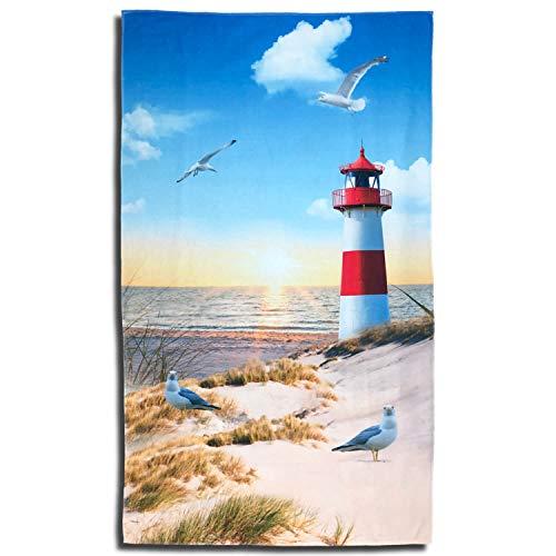 ESPiCO Strandlaken Badetuch Strand Beach Leuchtturm Meer Strandtuch Möve Vogel Sand 100 cm x 180 cm