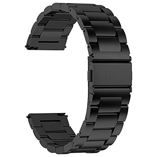 Fullmosa 4 Colores para Correa Metálica de Reloj de Liberación Rápida, Pulsera Reloj de Acero Inoxidable, Negro 22mm