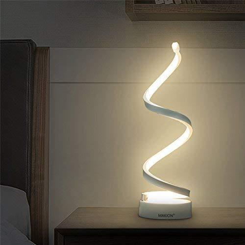 Makion Spiral LED Table Lamp, Curved LED Desk Lamp, Contemporary Minimalist Lighting Design, Warm...