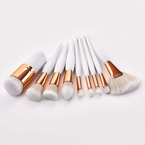 Pinceaux de maquillage 4pcs ou 9 Pcs Beauty Tools Sets Brush/Flame/Flat Head/Micro Brush 2 Colors Blusher Foundation Concealer Brush-08. 9pcs blanc