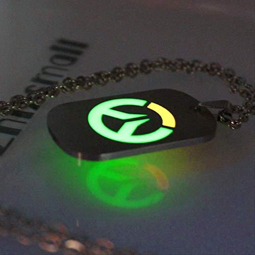 Naswi Overwatch Collar Brillante Collar Colgantes Overwatch Keychain Joyería De Moda Colgante Que Brillan En La Oscuridad Mujeres Hombres Collar