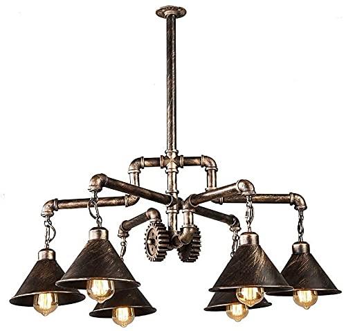 Retro Metall Taklampa Edison E27 Industriella Aktier Steampunk 6 Lampor Hänge Lykta Dekoration Restaurang Kök Bar Ljuskrona I Antik Rost Takljus