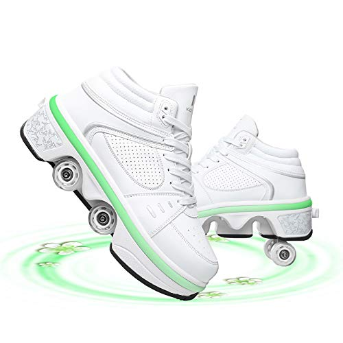 GGXINT Zapatos con Ruedas para Niños Y Niña Led Luces Zapatos Multiusos 2 En 1 Zapatillas con Ruedas Doble Rodillo Zapatos De Skate para Niños/Niñas,White~led,39