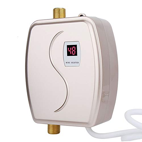 Calentador de agua eléctrico sin tanque, mini calentador de agua instantáneo de 220V 3800W con sensor de temperatura integrado, botón táctil para ducha en el baño (UE)(dorado)