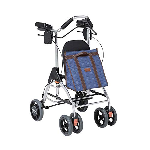 HYRL Carro de Compras Casual de Ancianos Walker, Carro de aleación de Aluminio Plegable portátil de Cuatro Ruedas de la Carretilla Ayuda para Caminar, Ajustable
