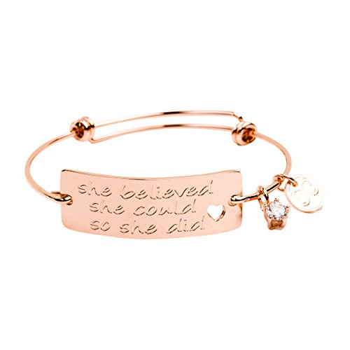 "Baubelle Expandable Inspirational Stackable Charm Bracelet ""She Believed She Could So She Did'"