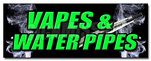 36' VAPES & Water Pipes Decal Sticker Bong Head Shop e cigs Weed Smoke Vapor