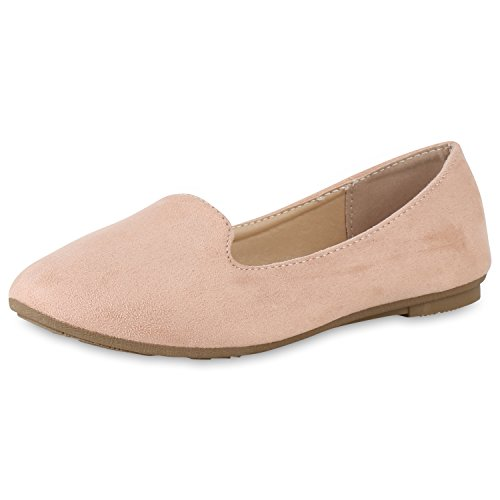 SCARPE VITA Damen Slippers Loafers Wildleder-Optik Flats Slip On Schuhe Basic 162287 Rosa 39