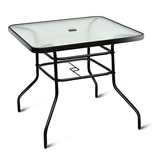 Lares & Penates Black Metal Frame Tempered Glass Top Outdoor Square Table with Umbrella Hole, Garden Poolside Tables, Patio Furniture