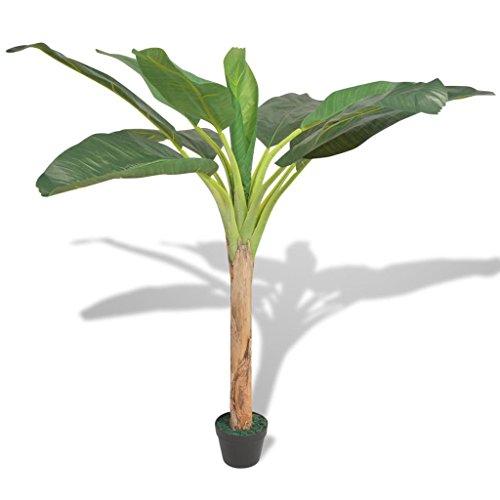 vidaXL Árbol Bananero Artificial con Macetero 250cm Verde Decoración Flores