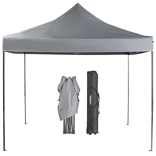 VonHaus Premium Fully Waterproof Gazebo 3x3m with Leg Weights and Wheeled Carry Bag - Outdoor Garden Marquee with Telescopic Legs - Grey