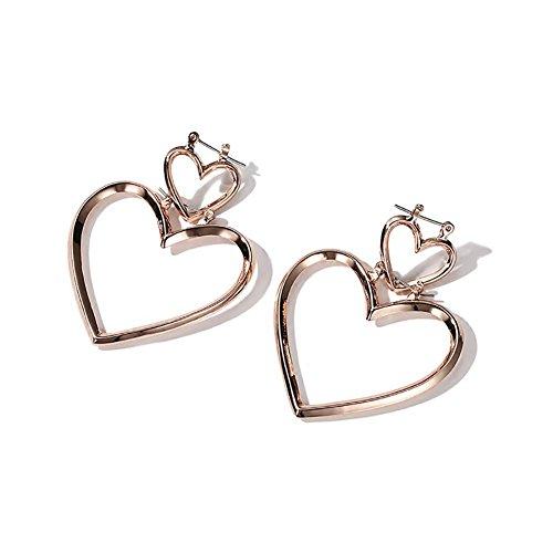 Boucles d'oreilles en plaqué or simples en forme de coeur, longues boucles d'oreilles pendentif femmes