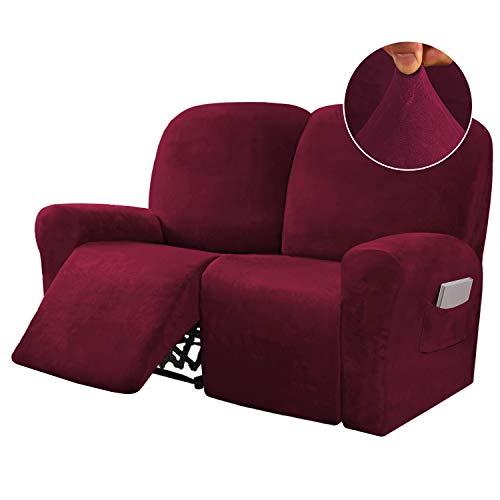 6 pezzi reclinabile 2 posti Copridivano in velluto elasticizzato reclinabile Copridivano per 2 cuscini Fodere per divano Fodere per mobili Forma adatta Stile personalizzato (Medio, Borgogna)