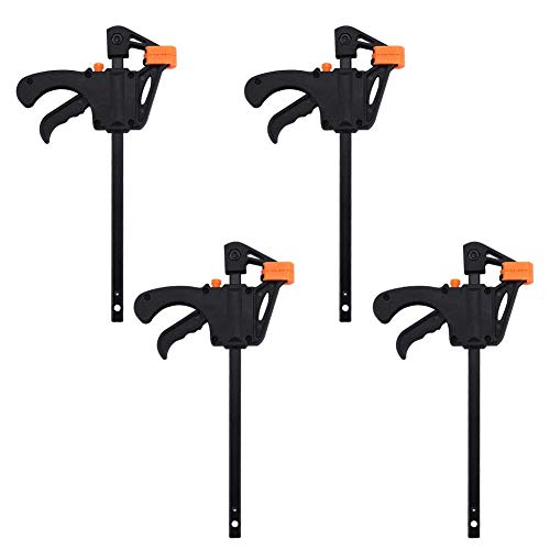 4 Pcs F Clamp Clip Bar Grip Quick Ratchet Release Squeeze Clamps Tools for Woodworking Set