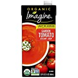 One 32 oz. carton of Imagine Organic Creamy Light Sodium Garden Tomato Soup Made with organic tomatoes and herbs Dairy and gluten-free Certified Kosher and vegan Non-GMO Project Verified and USDA-Certified Organic