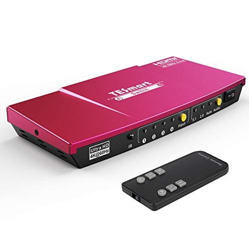 HDMI Switch 4x1 TESmart Ultra HD 4 Ports Umschalter unterstützt 4K@60Hz 4:4:4 mit automatischem Umschalter & drahtloser IR-Fernbedienung für Xbox/PS 4/Roku/Blu-Ray-Player/Fire Stick/HDTV-Korallenrot