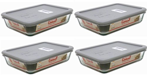 Pyrex 3-cup Rectangle Glass Food Storage Sets (3 cup Containers (Pack of 6), White Lid)