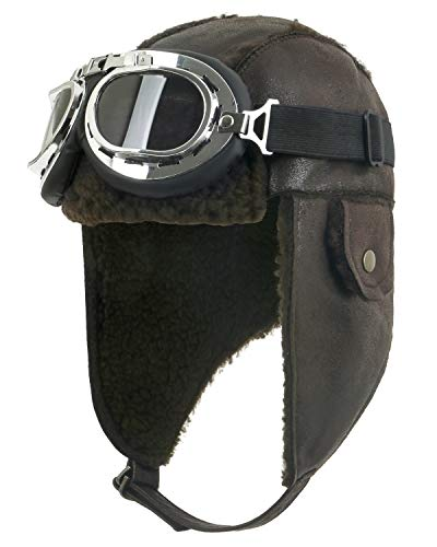 ililily Aviator Hat Winter Snowboard Fur Ear Flaps Trooper Trapper Pilot Goggles, Dark Brown