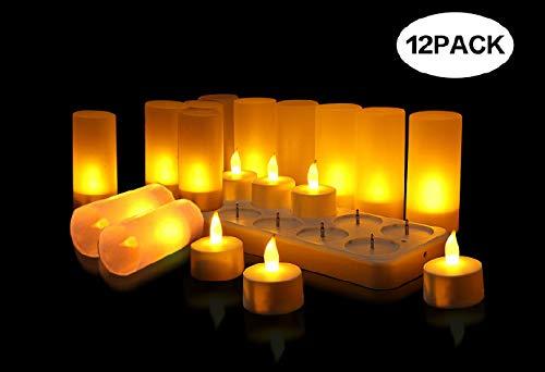QSPORTPEAK Velas eléctricas y LED sin Llama 12 Velas Recargables Luces Decorativas para Fiesta, Día de San Valentín, Halloween, Navidad, Cumpleaños [Clase de eficiencia energética A+](Amarillo)