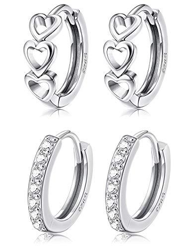 Milacolato 2Pairs Sterling Silber Kleine Creolen für Frauen Mädchen Zirkonia Knorpel Durchbohrte Frauen Teen Girls Huggie Tiny Hoops Earring
