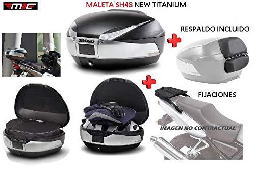 SHAD Kit BAUL Maleta Trasero SH48 Titanium litros + FIJACION + Respaldo Pasajero Regalo - HYOSUNG Comet GT650Ri 2009-2011