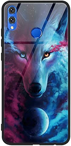 Eouine Huawei Honor 8X Case, [Anti-Scratch] Shockproof Patterned Tempered Glass Back Cover Case with Soft Silicone Bumper for Huawei Honor 8X Smartphone (Wolf)