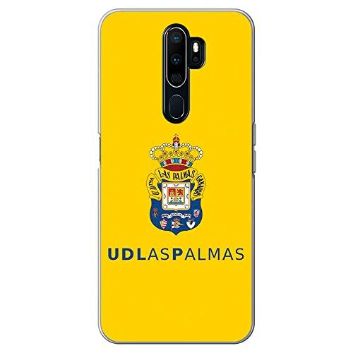 Movilshop Funda para [ OPPO A5 2020 - OPPO A9 2020 ] U.D Las Palmas [Escudo Color Fondo Amarillo] Licencia Oficial de Silicona Flexible Transparente Carcasa Case Cover Gel para Smartphone.