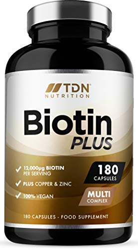 Biotin Tablets for Hair - 12000mcg per Serving - 180 Capsules - UK Made Biotin Hair Growth Supplement - Enhanced with Copper and Zinc - Supports Normal Hair Growth and Colour - 3 Months Supply