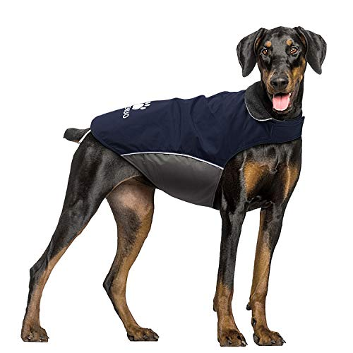 IREENUO Dog Raincoat, 100% Waterproof Dog Warm Jacket for Fall Winter, Rainproof Coat with Adjustable Velcro & Reflective Stripes for Medium Large Dogs - Dark Blue, XL