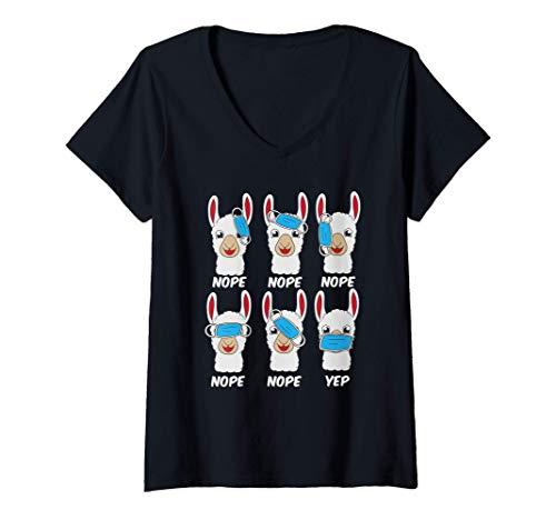 Damen Lama und Alpaka mit Maske Lehrer mit Maske virtuelle Klasse T-Shirt mit V-Ausschnitt