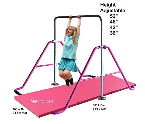 Kids Jungle Children Monkey Bar Gymnastics Athletic Expandable Kip Balance Bars Junior Training Play Gym Pink with 2' x 6' Gymnastic Mat