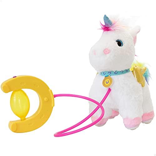 ColorBaby- Lucky Peluche, Sprint, Correa con Bomba de Aire, Andador, niñas Interactivo, Unicornio con Sonidos, A Partir de los 18 Meses, Incluye Pilas (46676), Multicolor
