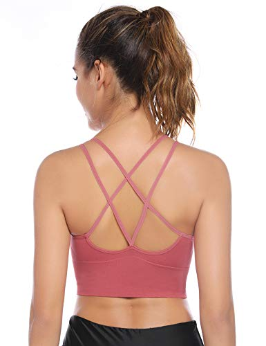 Aibrou Sport BH Rücken Verkreuzt ohne Bügel Yoga BH Atmungsaktiv Schock Absorber Compression Top Gepolstert (XL (90B/90C/90D/95A/95B/95C), Rot/ 1 PCS)