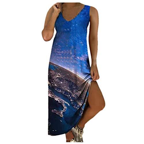 VESNIBA Vestido de verano para mujer, largo, cuello redondo, maxivestido, informal, holgado, sin mangas, cintura alta. Azul_#2a XL