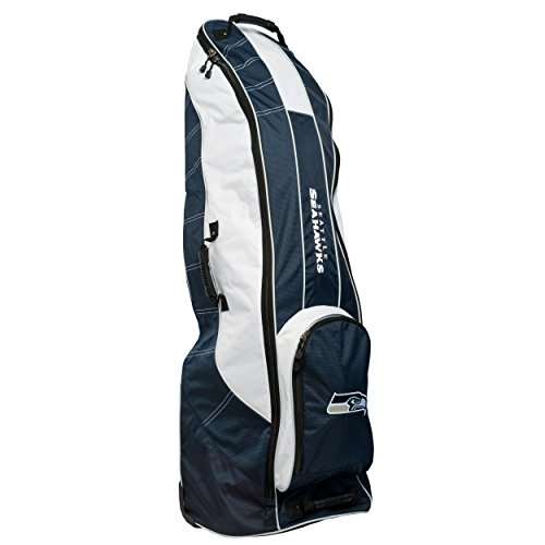 Team Golf NFL Seattle Seahawks Travel Golf Bag, High-Impact Plastic Wheelbase, Smooth & Quite Transport, Includes Built-in Shoe Bag, Internal Padding, & ID Card Holder