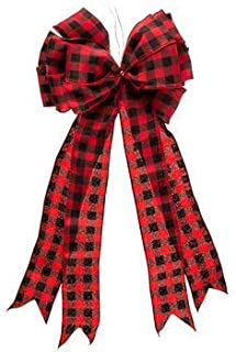 Black & Red Buffalo Check Bow Decoration Christmas Gift Holiday Gift Box Door Decor