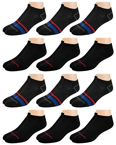 Reebok - Calcetines básicos de corte bajo para hombre (12 unidades), color negro y azul