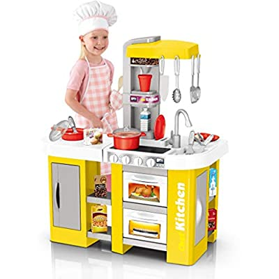 TTINA Large Plastic Play Kitchen Playset, Kids Kitchen Sets Little Pretend Role Play Toy with All The Sights and Running Water Sounds Play Fun with Friends (Yellow, US Direct)