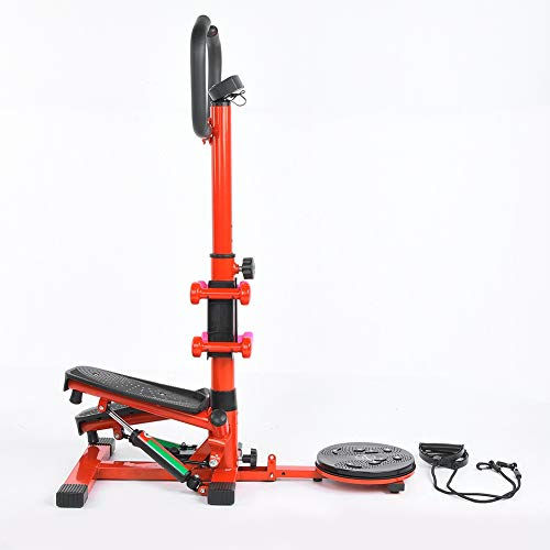 Cocoarm Heimgymnastik-Stepper, 4in1 Stepper Fitness Ministepper mit drehbarer Taillendrehscheibe, Body Fitness-Stepper mit intelligentem Lenker-LCD-Display und elastischem Zugband