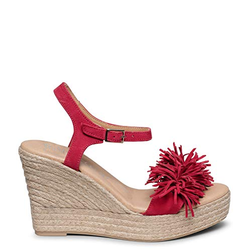 Zahara Cuña de Esparto con Plataforma y Flecos Rojo