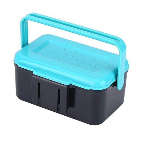 DAUERHAFT Caja de Cebo de plástico ABS Azul + Negro Caja de Aparejos de Pesca Durabilidad de Alto Rendimiento, para Cebo de Pesca con un Clip de señuelo