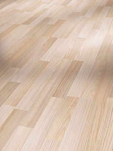 Parador Laminat Basic 200 Esche geschliffen 3-Stab Seidenmatte Struktur Fuge 2,991m² hochwertige Holzoptik hell grau, 7 mm, einfache Verlegung