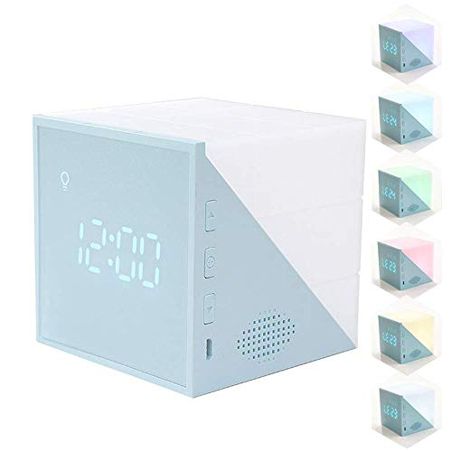 CAMPSLE Reloj Despertador LED para niños con Forma de Cubo, Temporizador de Cubo con Temperatura para Despertar por Voz, Reloj con lámpara de Noche Colorida, repetición de Cuenta Regresiva