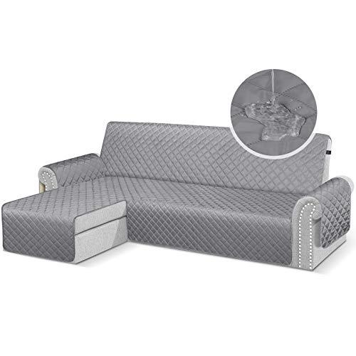 TAOCOCO Fundas de sofá para perros, impermeables, con banda de goma, espuma antideslizante para proteger los derrames, el desgaste y las grietas (gris, 3 + 3 plazas a la izquierda).