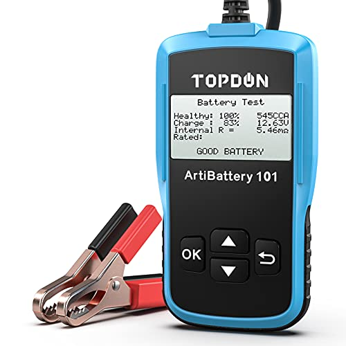 Car Battery Tester - 12v Car Auto Battery Load Tester on Cranking System and Charging System Scan Tool, Topdon AB101 100-2000 CCA Battery Tester Automotive for Cars SUVs Light Trucks
